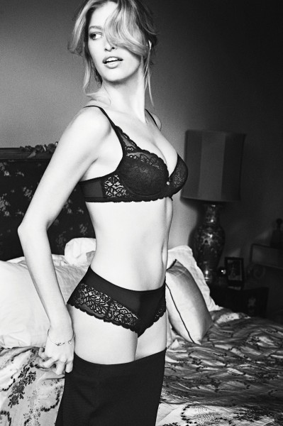 lingerie, black and white, bra, lace, model, female, bed, woman